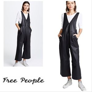 NWOT FREE PEOPLE Black Fiona Faux Leather Jumpsuit